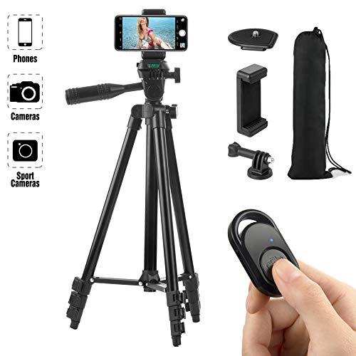 Hitchy Trepied Smartphone, Trepied Iphone 51 inch 130cm Aluminium Léger, Trepied Appareil Photo pour Smartphone/GoPro/Camera avec Télécommande Bluetooth, Porte-téléphone et Adaptateur GoPro (Noir)