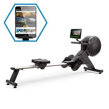Capital Sports Stream M2 - Rameur magnétique, Système de résistance magnétique et à air, Réglable en 16 Niveaux, Volant d'inertie en Aluminium, Ordinateur de Performance, Poids Max.100 kg, Noir