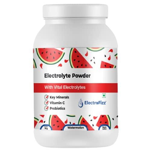 ElectroFizz Instant Hydration Energy Drink Powder for Workout for Men and Women- Electrolytes, Vitamin C, Probiotics - Lemon Flavour 1 Kg Jar Pack (Watermelon)