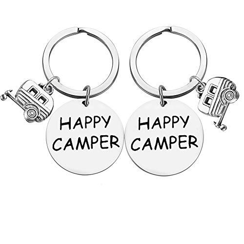 Happy Camper RV Keychain Trailer Jewelry Camping Keychain Key...