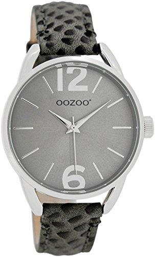 Oozoo Damen-/Kinderuhr mit Lederband 38 MM Silbergrau/Grau JR284