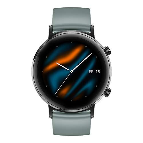 "Huawei Watch GT 2 Sport - Smartwatch con Caja de 42 mm, Hasta 1 Semana de Batería, Pantalla táctil AMOLED 1.2"", GPS, 15 Modos Deportivos, Pantalla 3D de Cristal, Gris (Lake Cyan)"