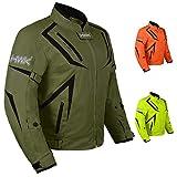 Motorcycle Jacket Riding HWK Mens Textile Motocross Dualsport Racing Hi-Vis Biker CE Armored Waterproof Jackets (Military Green, L)