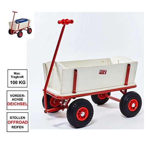 Izzy Bollerwagen Holz Luftreifen Kohlfahrt Karneval Boßeln Karre Handwagen Planwagen (Kinder 100kg)