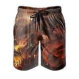Dessionop Bañador para hombre Fantasy Fire Dragon, castillo, pintura, pantalones de playa con forro de bolsillo, cómodo blanco, 3XL