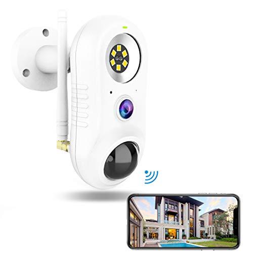 Telecamera Wi-fi Interno/Esterno con Luce,NIYPS Wifi IP66 Full HD 1080P Videocamera Sorveglianza PIR Rilevazione Umana, Audio Bidirezionale e Infrarossi,Telecamera IP Wireless Funziona con Alexa