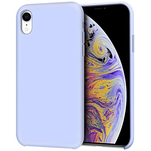 Anuck iPhone XR Case, Anti-slip Liquid Silicone Gel Rubber Bumper Case with Soft Microfiber Lining Cushion Slim Hard Shell Shockproof Protective Case Cover for Apple iPhone XR 6.1' 2018 - Light Purple