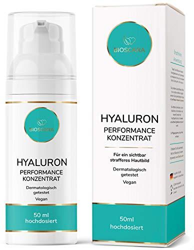 NEU: Bio Hyaluron Serum extra hochdosiert 50ml vegan - Anti Falten Effekt Hyaluronsäure Serum Microneedling geeignet I Anti-Aging Creme für ein sichtbar strafferes Hautbild hergestellt in Deutschland