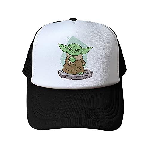 HLAA Berretto da Baseball da Esterno Cappello da Sole per Bambini Regolabile Ad Asciugatura Rapida Baby Yoda Decorazione Cappello per Il Tempo Libero Genitore-Figlio (M,1)