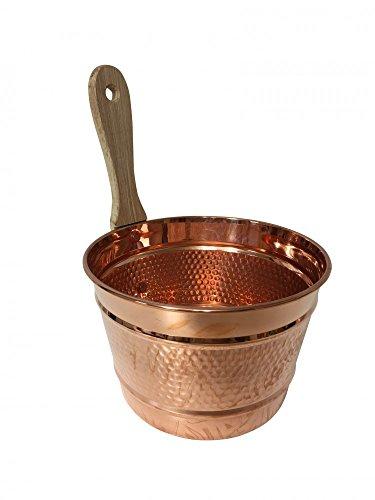 'CopperGarden' Saunaeimer/Schwalleimer aus blankem Kupfer mit Holzgriff - Kupfereimer