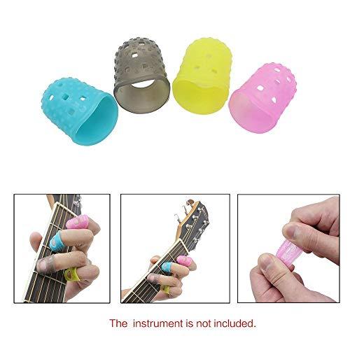 amiciCare 4 in 1 Flexible Guitar Fingertip Protector Silicon Finger Guard for Guitar, Ukulele, etc. (Multicolor)