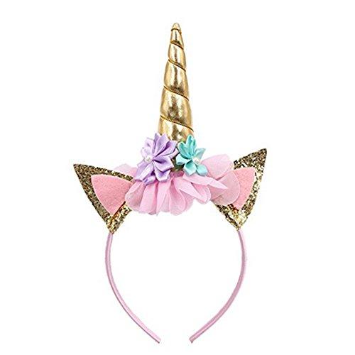 Diadema de cuerno de unicornio de purpurina, bandas de orejas de flores para la decoración de apertura o el disfraz de cosplay