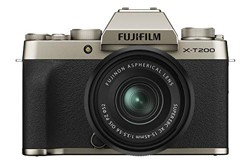 Fujifilm X-T200 24.2 MP Mirrorless Camera with XC 15-45 mm Lens (APS-C Sensor, Electronic Viewfinder, 3.5' Vari-Angle Touchscreen, Face/Eye AF, 4K Video Vlogging, Film Simulations) - Champagne Gold