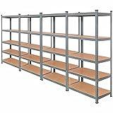 Tangkula 72' Storage Shelves, Heavy Duty Steel Frame 5-Tier Garage Shelf, Metal Multi-Use Storage Shelving Unit for Home/Office/Dormitory/Garage (4, Grey)