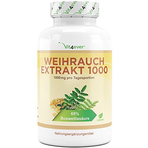 Vit4ever® Weihrauch Extrakt - 360 Kapseln - 1000 mg pro Tagesportion (2 Kapseln) - 65% Boswellia-Säure - Boswellia Serrata - Laborgeprüft - Vegan - Premium Qualität