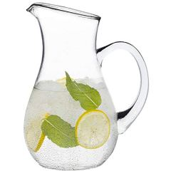 Glass Pitcher with Spout – 50 oz Clear Glass Belly Pitchers – Elegant Serving Carafe for Water, Juice, Sangria and Cocktails – Crystal-Clear Glass Pitcher – Dishwasher Safe.