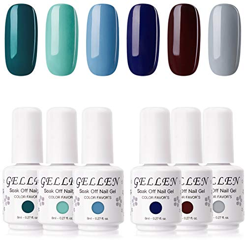 Gellen Gel Nail Polish Kit - 6 Colors Sapphire Emeralds Tones Classy Elegance Dark Nail Gel Colors, Home Gel Manicure Kit