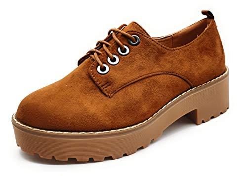 P&L Zapatos de Mujer con Cordones Oxford Blucher Plataforma de Ante.