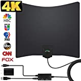 TV Antenna, 2020 Newest HDTV Indoor Digital Amplified TV Antennas 130+ Miles Range with Amplifier TV Signals, HDTV Antenna for 4K Free Local Channels Support All TV's-17ft Coax Cable