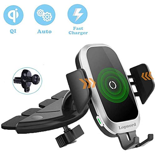 Wireless Car Charger CD Mount, Auto Clamping CD Player Phone Mount Air Vent Qi Charger Compatible with 11 Pro XS Max XR X 8, Galaxy S10 Plus S9 S8 S7 S6 Note 10 9 8
