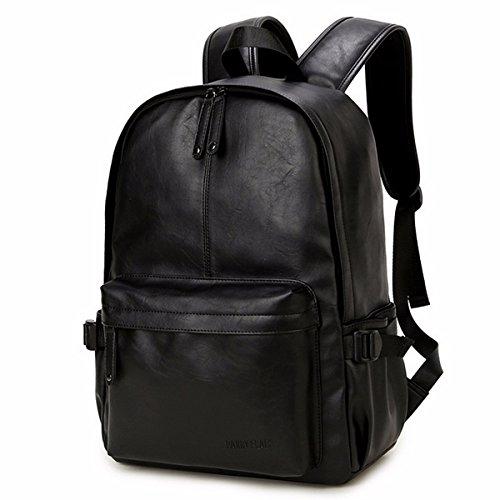 Viaggi Zaino Borsa a Tracolla,OB OURBAG Zaino in Pelle PU Esterni Scuola Zaino fit 15.6' Laptop Backpack per Uomo e Donna (Nero)