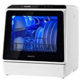 Portable Countertop Dishwashers, NOVETE Compact Dishwashers with 5 L Built-in Water Tank & Inlet Hose, 5 Washing Programs, Baby Care, Air-Dry Function and LED Light for Small Apartments, Dorms and RVs