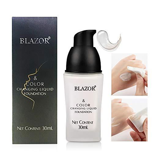 BLAZOR Orchidella Weiße Foundation, Foundation Color Changing,Full Cover Makeup, Transparente und Natürliche, Feuchtigkeitsspendende Haut, Unsichtbare Poren, Sonnenschutz, Nicht Fettend