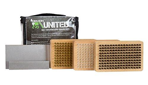 DEMON UNITED Ski/Snowboard Wax Brush Kit - Bonus Includes Metal Scraper and Edge File