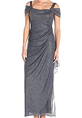 Full-length glittery gown with cold shoulders featuring side ruching Concealed back zipper This style is available in Regular, Plus Size and Petite on Amazon.com