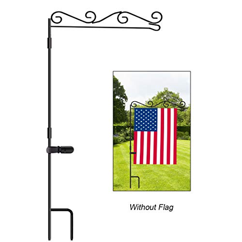 HOOSUN Garden Flag Stand, Premium Garden Flag Pole Holder Black Metal Powder-Coated Weather-Proof Paint, 37.9' H x 15.7' W for Outdoor Garden Lawn Without Flag