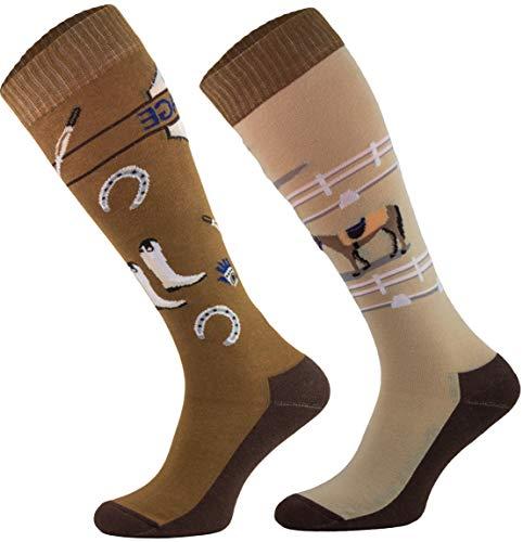 TODO Comodo Calzini Equitazione Donna Fantasia STJBW | Calze Multicolore da Equitazione Bambina Motivo Lunge in Cotone (STJBW 24 - Dressage, 39-42)