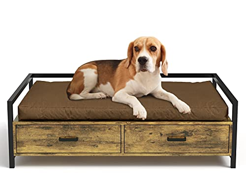 MSmask Cuccia per cani con cassetto, divano per cani, cuccia rialzata, telaio letto per cani di taglia piccola, media e grande, portata massima 70 kg (81,5 x 52 cm, marrone retr