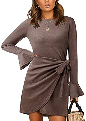 Material: 35% Cotton & 65% Polyester, Super Soft and Comfortable and Medium Stretchy. Features: solid color knitted, crew neck, flared long sleeve, pleated wrap style front, invisible zipper on the back, elegant pencil dress, slim fit sweater dress F...