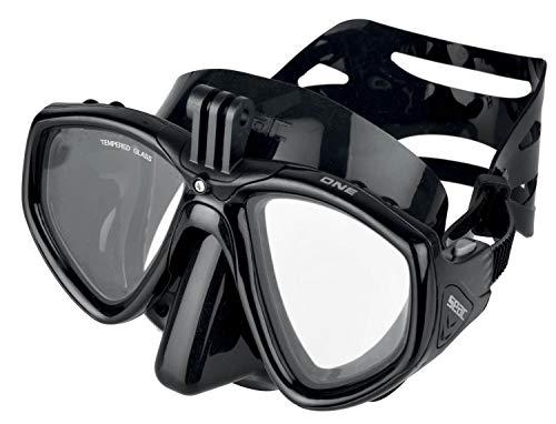 SEAC One PRO, Maschera da Sub con Supporto per Videocamera Gopro per Immersioni Subacquee e Snorkeling Unisex Adulto, Nero, Taglia Unica