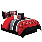 Chezmoi Collection Arden 7 Pieces Modern Pleated Stripe Embroidered Zigzag Bedding Comforter Set (Full, Red/Gray/Black/Off-White)