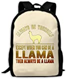 TTmom Mochilas Tipo Casual,Bolsa de Viaje Llama Always Be Yourself Unisex Backpack Shoulder Bag School Backpack Travel Bags Laptop Backpack