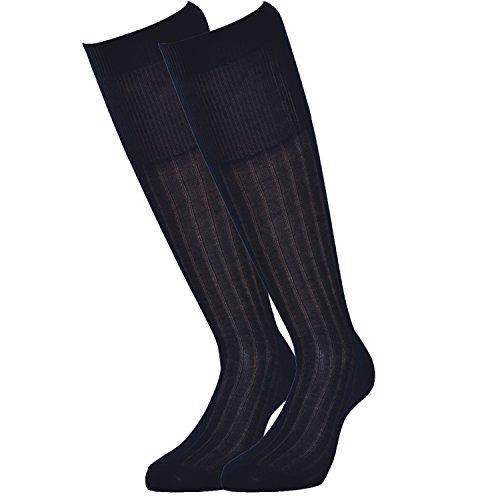 Fontana Calze, 6 paia di calze uomo lunghe in 100% Cotone Filo di Scozia velato e a costine. BLU 42/44,5