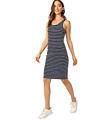 Notice: The fabric is slightly elastic ound neck, striped, sleeveless, tight midi dress Occations:summer,fit for club,dating,travel or casual everyday dressing Model:Height: 173cm, Bust: 86cm, Waist: 61cm, Hips: 86cm Wear:S Please refer to Size Chart...