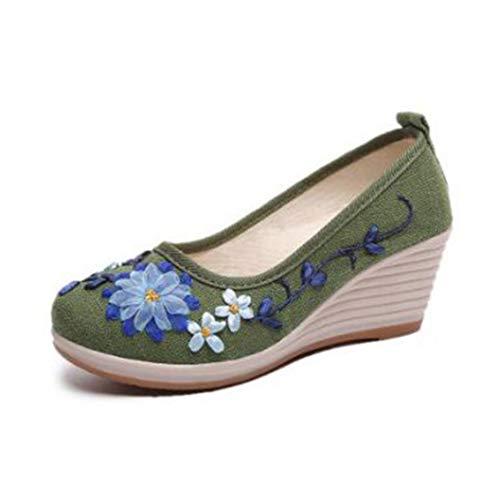Alpargatas de cuña para Mujer Transpirables de Verano con Bordado de Flores Zapatos Casuales de tacón Alto Zapatos de Plataforma para Mujer