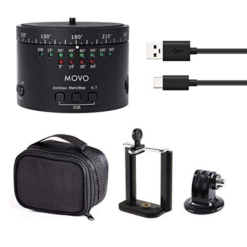 Movo Photo MTP-11 testa motorizzata per treppiede, per panoramiche e time lapse, con tempo, direzione e velocità variabili e batteria ricaricabile integrata - per fotocamere DSLR, GoPro e Smartphone