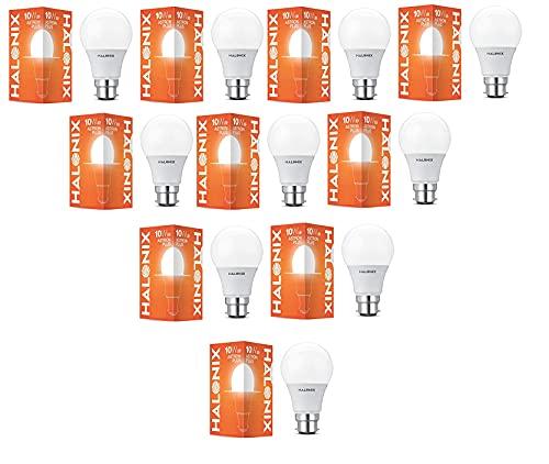 Halonix 10 Watt B22 LED Cool Day Light Bulb, Pack of 10, White