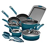 Rachael Ray Brights Nonstick Cookware Pots and Pans Set, 14 Piece, Marine Blue Gradient