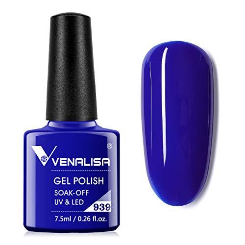 VENALISA Gel Nail Polish - Deep Blue Color Soak Off UV LED Nail Gel Polish Nail Art Starter Manicure Salon DIY at Home