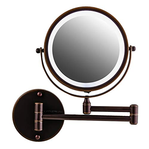 Ovente Wall Mounted Double sided 180 extendable arm Vanity Makeup Mirror 7 Inch 1X with full view 10X Magnification and LED light, 360 Rotation, 4 AAA Battery operated Antique Bronze MFW70ABZ1X10X