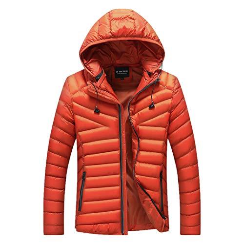 HiiWorld Man's Jackets and Coats Winter Brand Overcoat Outwear Slim Long Trench Zipper Caps Coat Men's Jackets Winter Orange
