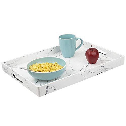 HDS Serving Tray Trading 18 x 13 Coffee Tray Faux Marble, White