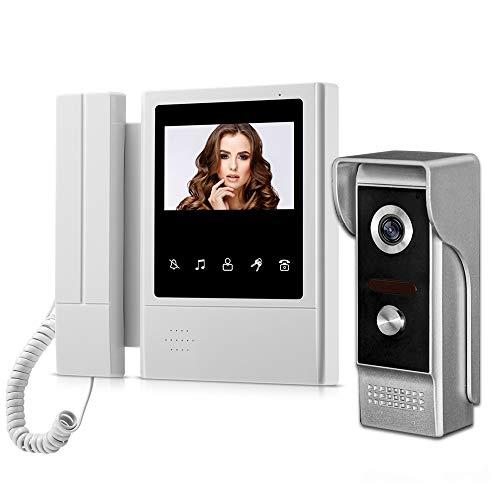 HFeng 4.3 '' Videocitofono a colori TFT Videocitofono campanello 1 Monitor + 700TVL Telecamera per esterni IR Visione notturna per casa 100 metri