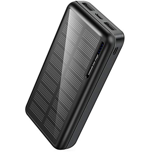 Batterie Externe Solaire 30000mAh, Chargeur Solaire avec Double Sortie USB et Une Entrée...