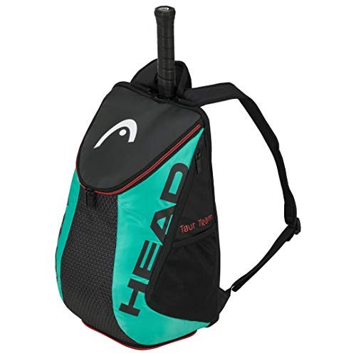 HEAD Tour Team Tennis Backpack 2 Racquet Carrying Bag w/Padded Shoulder Straps & Shoe Compartment - Black/Teal