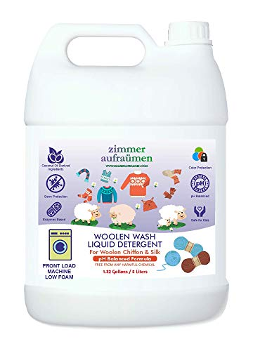 Zimmer Aufraumen 5L Liquid Detergent for Woolen, Winterwear, Chiffon & Silks (Low Foam). THICK & CONCENTRATED. Only HALF Quantity Required. Economical. For Front Load Washing Machine. Biodegradable & Ecofriendly. Plant Derived Chemicals. Kids & Pets Safe